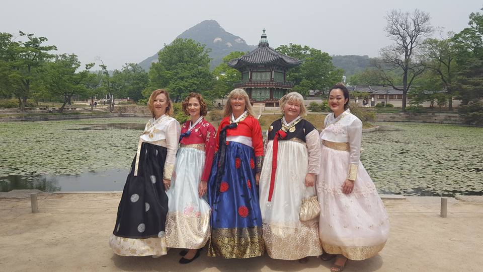 AWC wearing Hanbok at Korean palace