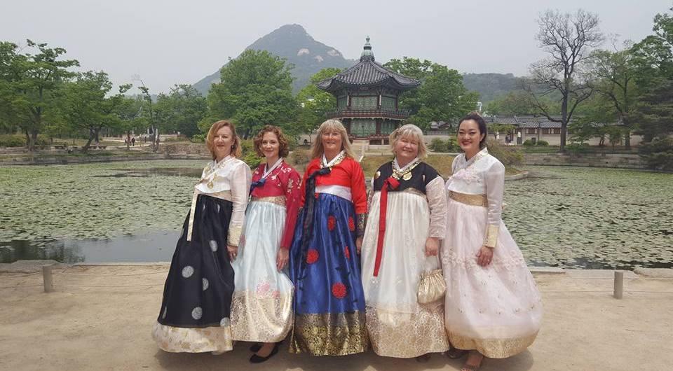 AWC wearing Hanbok at Korean palace